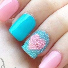 pink & blue microbead heart!