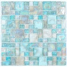 Mineral tile Iridescent Glass Mosaic Tile Clear Random Blend is face mounted on a 12 inches by 12 inches clear tape sheet for an easy installation. Each individual tile chip is thick. Iridescent glass tiles re French Pattern, 3d Home, Glass Mosaic Tiles, Cement Tiles, Stone Mosaic, Stone Tiles, Crackle Glass, Bath Remodel, Beach House Decor