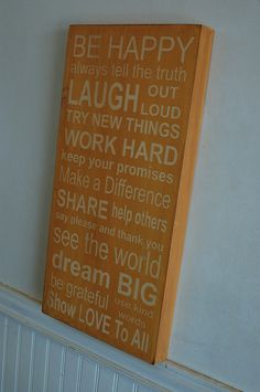 Family Rules Subway Art - Wood Sign - beehive color. $55.00, via Etsy.  I could make this!