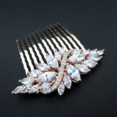 Rose Gold hair comb Bridal hair comb Wedding by TheExquisiteBride