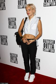 Fashionista: Lily Allen stayed true to her quirky form on Thursday as she attended a scree...