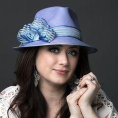 Toyo straw fedora with sheer ribbon trim in shades of bright blue. www.liftedmillinery.com Straw Fedora, Bucket Hat, Ribbon, Shades, Bright, Blue, Fashion, Tape, Moda