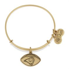 Saint Louis Rams Football Charm Bangle - Rafaelian Gold Finish ($32) ❤ liked on Polyvore featuring jewelry, bracelets, rafaelian gold finish, alex and ani jewelry, bangle charm bracelet, charm bangle, charm bracelet bangle and alex and ani
