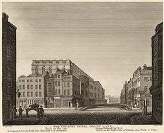 The theatre pictured as it was in 1809 (from an 1811 engraving). The view is from the north-east, looking down Russell Street at its intersection with Drury Lane. This shows the rear of the theatre with its dressing rooms and stage door. Uk History, London History, Somewhere In Time, Old London, London Street, Covent Garden, British Isles, Regency, England
