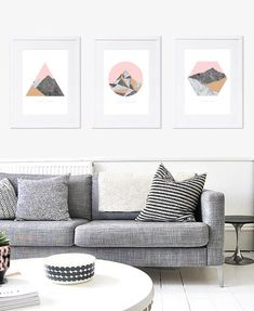 Modern geometric marble mountain prints! A set of 3 art prints including Black Peak, Walter Peak and Mount Aspiring in New Zealand. These stunning modern art prints have a marble texture for the mountains silhouetted against a pale pink sky. • click the drop-down menu for a range of
