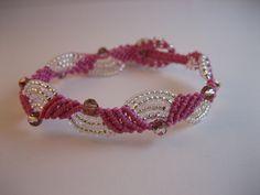 Beaded macrame bracelet - rose. $14.00, via Etsy.