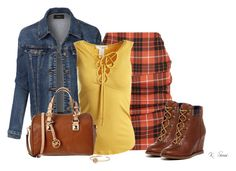"""""""Tartan"""" by ksims-1 ❤ liked on Polyvore featuring Vivienne Westwood Anglomania, LE3NO, Sans Souci, Johnston & Murphy, MICHAEL Michael Kors and Michael Kors"""