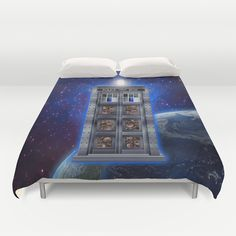 Steampunk time machine Phone booth Duvet Cover #tardis #doctorwho #starrynight #vangogh #screamingman #flying #phonebooth #steampunktardis