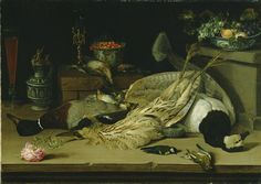 Still Life with Dead Birds; Christoffel van den Berghe  (Flemish, about 1590 - after 1642); 1624; Oil on canvas; 72.4 x 100.3 cm (28 1/2 x 39 1/2 in.); 71.PA.34 J. Paul Getty Museum.]