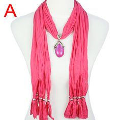 Hot Popular Cotton & Polyester Red Jewelry Scarf with Resin Pendant, NL-1678A