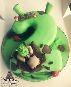 Shrek themed number cake... idea for Phillips cake