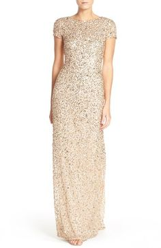 in blush - Adrianna Papell Short Sleeve Sequin Mesh Gown (Regular & Petite) available at #Nordstrom