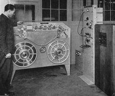 On Christmas Day 1932 the British Broadcasting Corporation first used a TAPE RECORDER for their broadcasts. The device used was a Marconi-Stille recorder, a huge tape machine which used steel razor tape 3 mm wide and 0.08 mm thick.