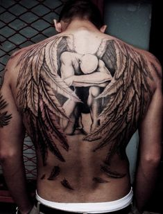 angel male tattoo ideas for back