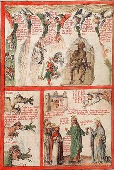 """Beatus"" - commentary on the Apocalypse,  False prophets (Revelation 16, 13) 'Queen Mary Apocalypse', London 14th century."