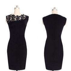 vestido preto tubinho com renda lindo tam. m frete gratis.
