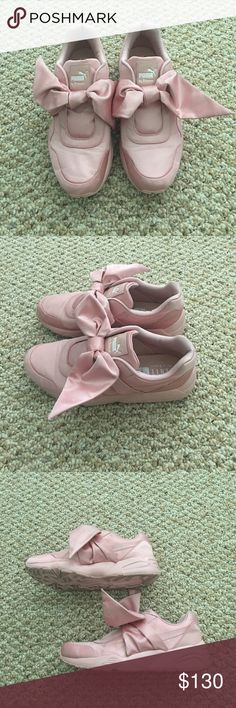 Beautiful PUMA FENTY Bow Sneakers by Rihanna Beautiful PUMA FENTY Bow Sneakers by Rihanna. Purschased a few months ago in Miami. Only worn three times, great condition other than a few scuff marks because of silk/satin material. **COMES WITH BOX. Comment below with any questions ☺ Puma Shoes Sneakers