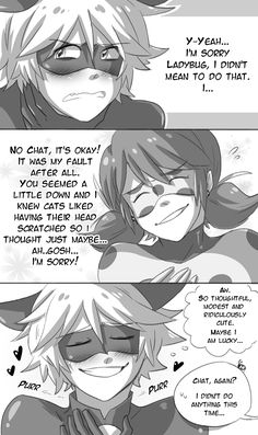 "cjs-scribbles: "" Purring Problems. A little comic about how Chat's cat tendencies can sometimes embarrass him. Especially around Ladybug. """