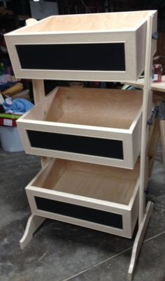 Vertical Toy Box. Could add chalk board on front for lableing