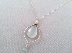 Handmade Necklace with Silver, Chalcedony, Aquamarine. Made by Amber Bryce, jewelry artist from Nashville, Indiana. Amber designs luxurious, bohemian-inspired jewelry using recycled sterling silver and gemstones.