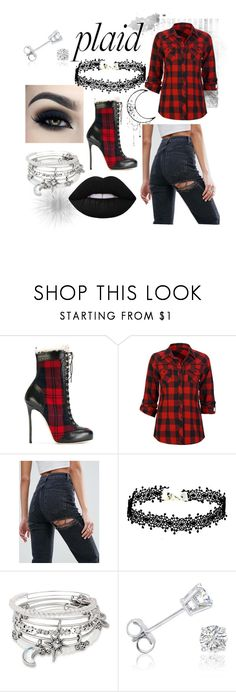 """Plaid Type of Fun"" by vivibarone ❤ liked on Polyvore featuring Too Faced Cosmetics, Dsquared2, Full Tilt, ASOS, Alex and Ani and Amanda Rose Collection"