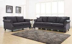 Cambridge Grey Linen Sofa from EMFURN