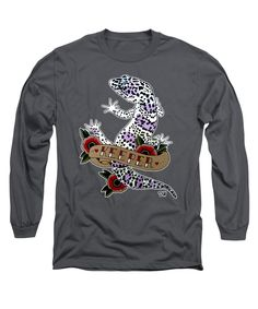 Keeper Leopard Gecko Long Sleeve T-Shirt in charcoal by Donovan Winterberg