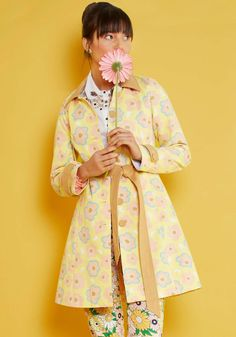 You know how to stylishly savor your travels - by wearing this fun-loving yellow coat throughout! Single-breasted and smartly tailored with an amber collar, waist sash, and button-accented cuffs, this pastel pink, blue, and white floral piece from our ModCloth namesake label reminds you that the journey is just as fun as the arrival.