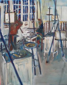 "'Brooklyn College Painting Studio' by Jacob Mezrahi | $250 | 16""w x 20""h | Original Art | http://www.arttwo50.com/buy/art/brooklyn-college-painting-studio"