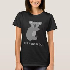 Shop Funny koala bear shortsleeve womens tshirts created by logotees. Personalize it with photos & text or purchase as is! Halloween Outlet, Retro Outfits, Cool Outfits, Funny Koala, Pregnant Halloween, Dinosaur Funny, T Shirts For Women, Clothes For Women, Adulting
