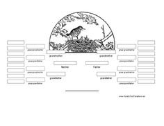 This black and white printable family tree with a bird-in-nest design. It covers five generations, to the great, great grandparent level. Free to download and print