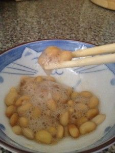making homemade Natto