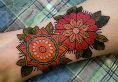 folky flower tattoos