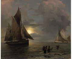Andreas Achenbach, Mondbeschienene Küstenlandschaft mit Segelschiffen, Auktion 1027 Gemälde 15. - 19. Jh., Lot 55