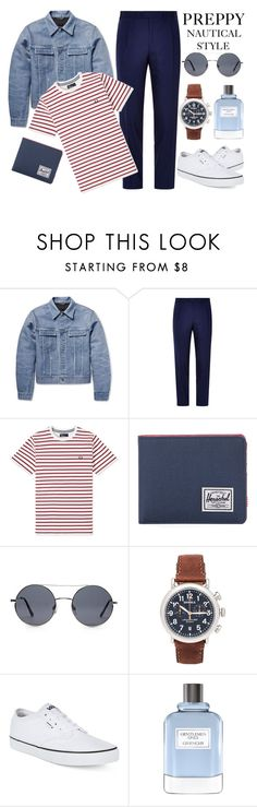 """""""Rugged Rascal - Preppy Nautical Style"""" by latoyacl ❤ liked on Polyvore featuring Calvin Klein, Canali, Fred Perry, Herschel Supply Co., Forever 21, Shinola, Vans, Givenchy, men's fashion and menswear"""