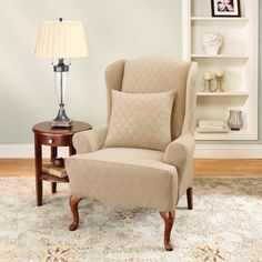 Sure Fit Stretch Marrakesh Wing Chair Slipcover in Cream (T Cushion) - 187725236HG