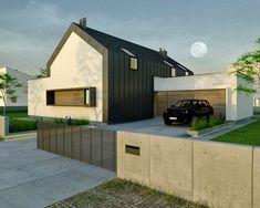 Nr 1 - dom parterowy z poddaszem użytkowym i garażem   doomo Shed, Outdoor Structures, Studio, Architecture, Arquitetura, Studios, Architecture Design, Barns, Sheds