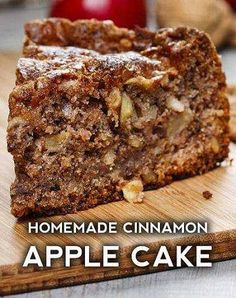 Cinnamon Apple Cake Apple Cake Recipes, Apple Desserts, No Bake Desserts, Just Desserts, Delicious Desserts, Yummy Food, Cooking Apple Recipes, Apple Cakes, Cooking Tips