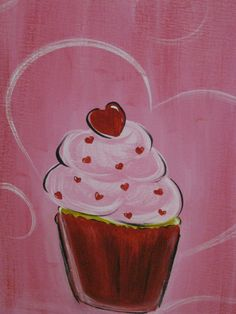 Cute cupcake canvas paint idea for wall decor. Pink and red cupcake with heart. Valentine's. Canvas painting. Wall art.