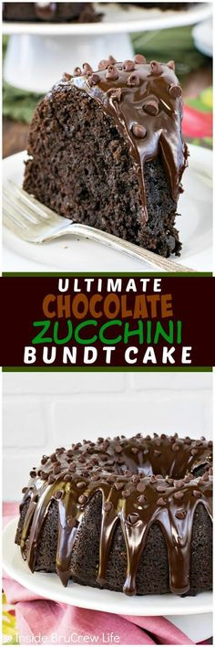 Ultimate Chocolate Zucchini Bundt Cake - three kinds of chocolate give this zucchini cake a rich flavor. It's the best summer recipe to use up those green veggies!