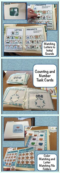 Autism Matching File Folders and Task Cards for kindergarten and early childhood. Great for students with special needs as well. Get ready for winter with these file folders and task cards for basic letter and number tasks. $