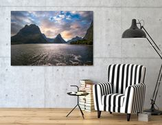 Discover «Epic Sunset at Milford Sound», Numbered Edition Canvas Print by Daniela Constantinescu - From $59 - Curioos