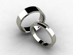 Wedding band set titanium ring Diamond by TorkkeliJewellery $887 (!!!!)