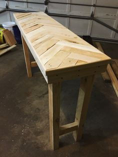 Herring bone pattern console table- make from reclaimed pallet and shipping crate wood