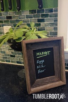 Adorable 5x7 barnwood chalkboard frame - perfect for grocery lists!