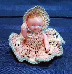 Vintage Renwal Dollhouse Doll Baby in Crochet by CurioCabinet on Etsy