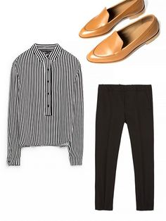 Striped blouse + black pants + loafers: