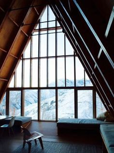 Home Interior Design — A-frame mountain retreat with massive windows. Wood Houses, A Frame Cabin, A Frame House, Cabins In The Woods, House Goals, My New Room, My Dream Home, Exterior Design, Future House