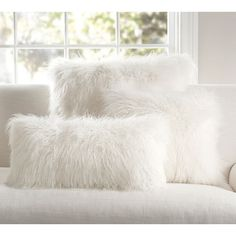 Pottery Barn Mongolian Faux Fur Pillow Cover - Ivory ($39) ❤ liked on Polyvore featuring home, home decor, throw pillows, square throw pillows, cream colored throw pillows, ivory throw pillows, off white throw pillows and plush throw pillows