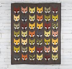 Fancy Fox Quilt Kit by Elizabeth Hartman featuring Robert Kaufman Rhoda Ruth by Elizabeth Hartman Fabric Mini Quilt Patterns, Modern Quilt Patterns, Fabric Patterns, Knitting Patterns, Elizabeth Hartman Quilts, Fox Quilt, Fox Fabric, Summer Quilts, Animal Quilts